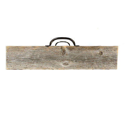 Rustic Farmhouse Wooden Serving Tray with Black Handles