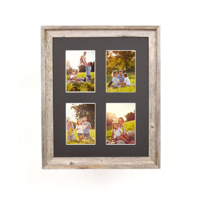 Rustic Signature Picture Frame with Multi Opening Black Mat