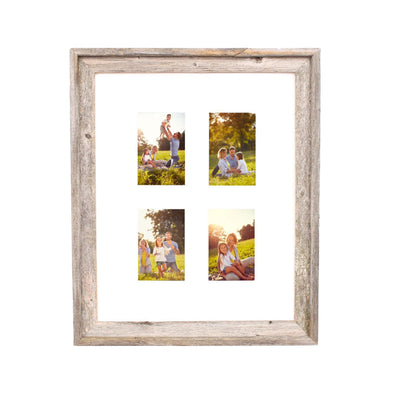 Rustic Signature Picture Frame with Multi Opening White Mat