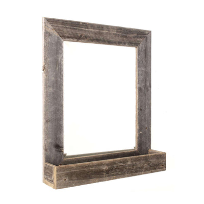Rustic Farmhouse Beveled Edge Mirror With Shelf