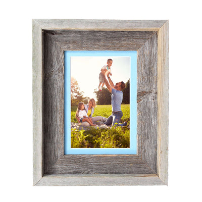 Rustic Signature Picture Frame with Aqua Mat