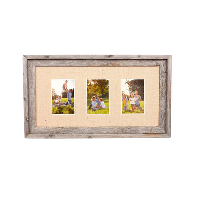 Rustic Signature Picture Frame with Multi Opening Burlap Mat