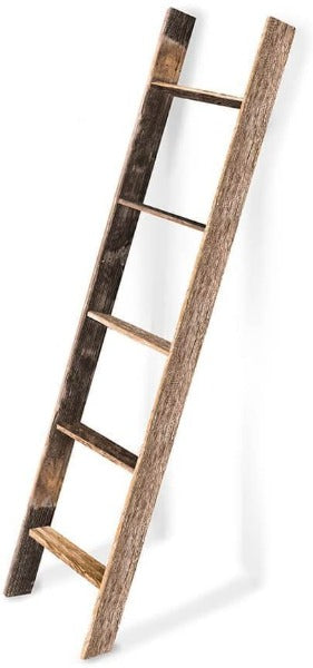 BarnwoodUSA Rustic Farmhouse Blanket Ladder - Our 5 ft Ladder is Crafted from 100% Recycled and Reclaimed Wood No Assembly Required Color Weathered Gray