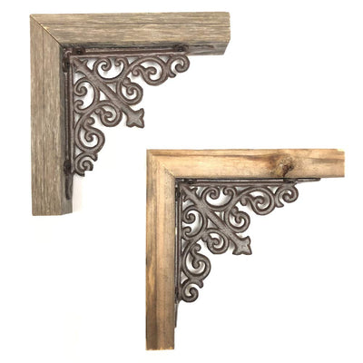 Rustic Farmhouse Corbel with Metal Bracket
