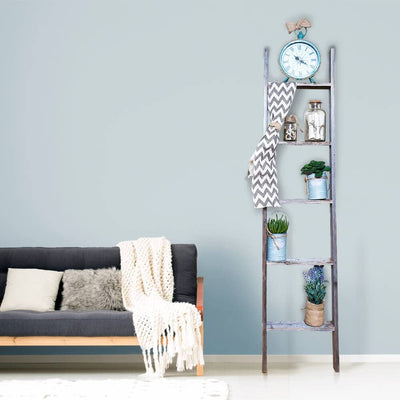 Sturdy wooden blanket ladder side look