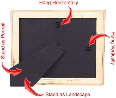 Hang and stand dual functioning wooden picture frame backside