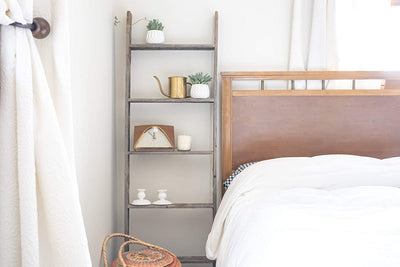 BarnwoodUSA Rustic Farmhouse Blanket Ladder - Our 5 ft 18inch Ladder is Crafted from 100% Recycled and Reclaimed Wood No Assembly Required Color Weathered Gray