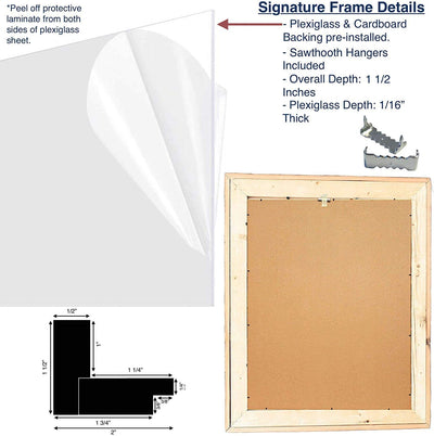 Wooden picture frame back view and side close view