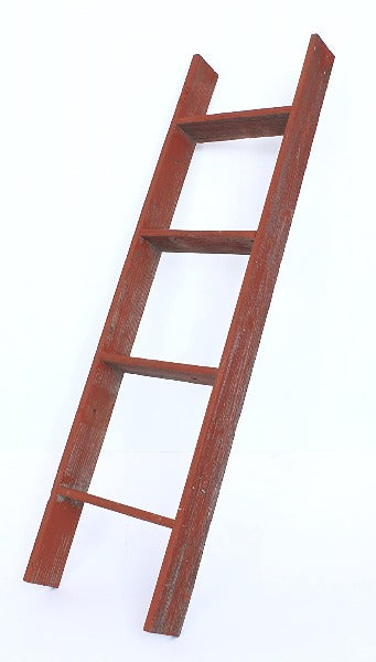 BarnwoodUSA Rustic Farmhouse Blanket Ladder - Our 4 ft Ladder is Crafted from 100% Recycled and Reclaimed Wood No Assembly Required Color Red