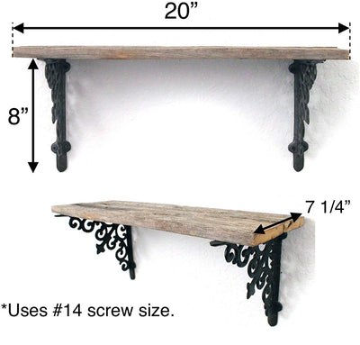 BarnwoodUSA Rustic Wooden Shelf with Victorian Brackets Dimensions
