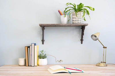 BarnwoodUSA Rustic Wooden Shelf with Victorian Brackets for study room
