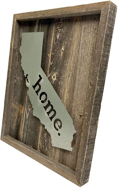 BarnwoodUSA Rustic Farmhouse California Metal State Sign Natural Weathered Gray Home Modern Rustic Decorations Home Accent 100% Reclaimed & Recycled Wood Wall Décor