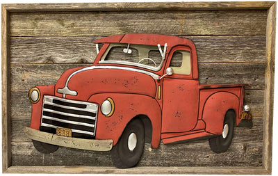 BarnwoodUSA Vintage Red Christmas Truck Wall Sign Farmhouse Metal Truck Wall Art Automotive Old Vehicle Decor Rustic Wooden Wall Signa