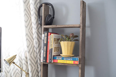 BarnwoodUSA Rustic Farmhouse Blanket Ladder - Our 3 ft Ladder is crafted from 100% Recycled and Reclaimed Wood No Assembly Required Color Brown