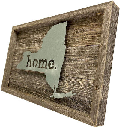 BarnwoodUSA Rustic Farmhouse New York Metal State Sign Natural Weathered Gray Home Modern Rustic Decorations Home Accent 100% Reclaimed & Recycled Wood Wall Décor