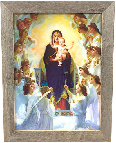 BarnwoodUSA 18 1/8 x 14 Virgin Mary Holding Baby Jesus 3D Lenticular Picture Artwork Unique Wall Decor Holographic Optical Illusion Lenticular Posters & Pictures Framed 1.5 inch Molding