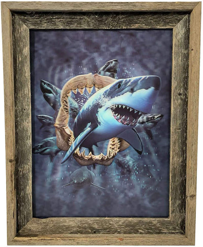 BarnwoodUSA 18 7/8 x 15 Shark 3D Lenticular Picture Artwork Unique Wall Decor Holographic Optical Illusion Framed Barnwood Great White Shark 3D Poster Lenticular Framed Signature Molding
