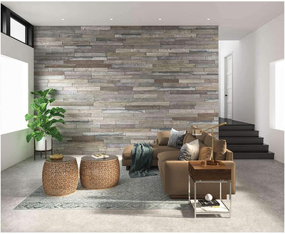 Rustic Faux Wood Planks Wall Design