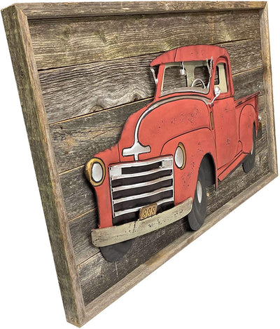Old vehicle rustic wooden wall sign