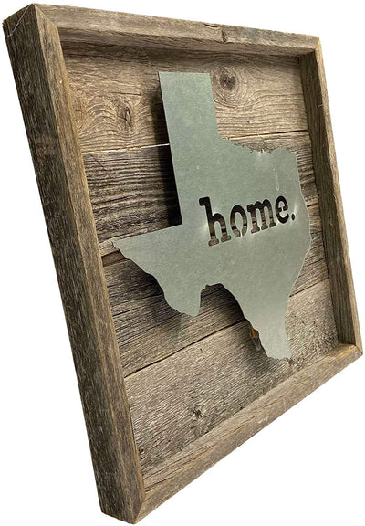 BarnwoodUSA Rustic Farmhouse Texas Metal State Sign Natural Weathered Gray Home Modern Rustic Decorations Home Accent 100% Reclaimed & Recycled Wood Wall Décor