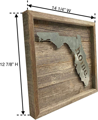 "12 ⅞""x15 ⅞ Rustic wooden metal state sign"