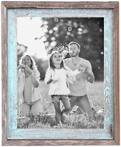 Rustic picture frame holding family photo