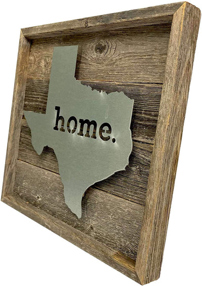 Rustic wooden frame holding metal state sign right side view