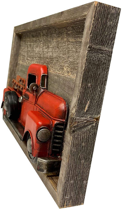 Red colored truck decorative sign inside Rustic recycled wooden frame