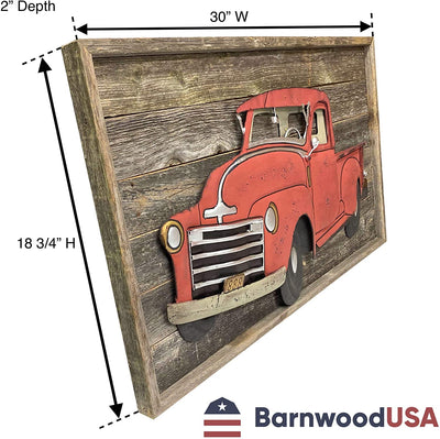 "18 ¾""x30""x2"" BarnwoodUSA vintage red Christmas truck sign"