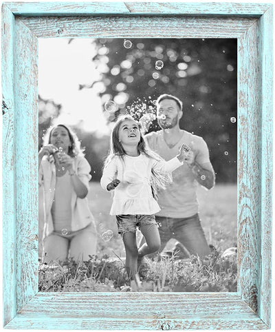 BarnwoodUSA Farmhouse Style Rustic Picture Frame Signature Molding 100% Reclaimed Wood Rustic Robins Egg Blue/Gray