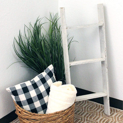 BarnwoodUSA Rustic Farmhouse Blanket Ladder - Our 3 ft Ladder is Crafted from 100% Recycled and Reclaimed Wood No Assembly Required Color White