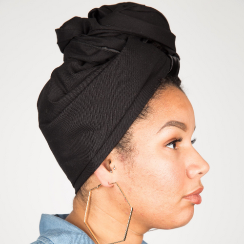 all black satin line head wrap