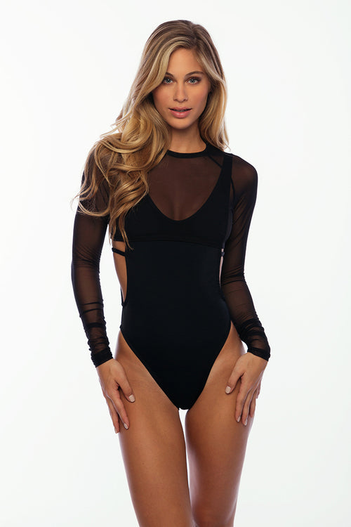 Sandy Beach Rash Guard - Black Mesh