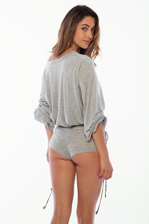 Peter Island Cover Up Hot Pant - Solid Grey