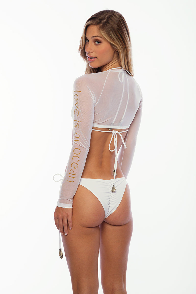 Sandy Beach Rash Guard - LIAO White Mesh