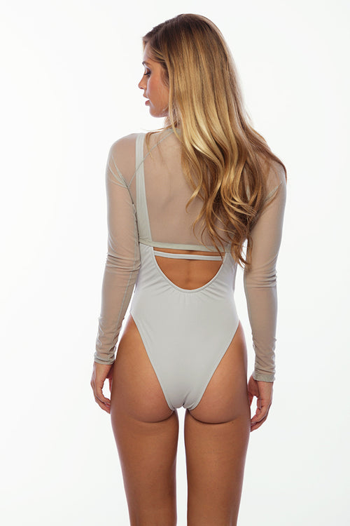 Sandy Beach Rash Guard - Grey Mesh