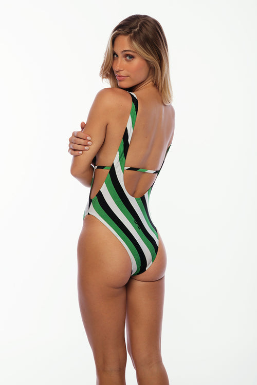 St Barths One Piece - Green Stripes