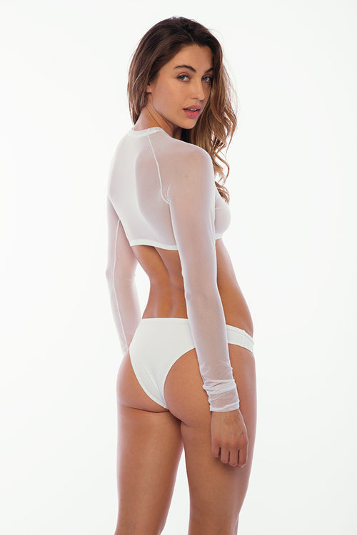 Sandy Beach Rash Guard - White Mesh