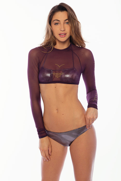 Sandy Beach Rash Guard - LIAO Purple Mesh