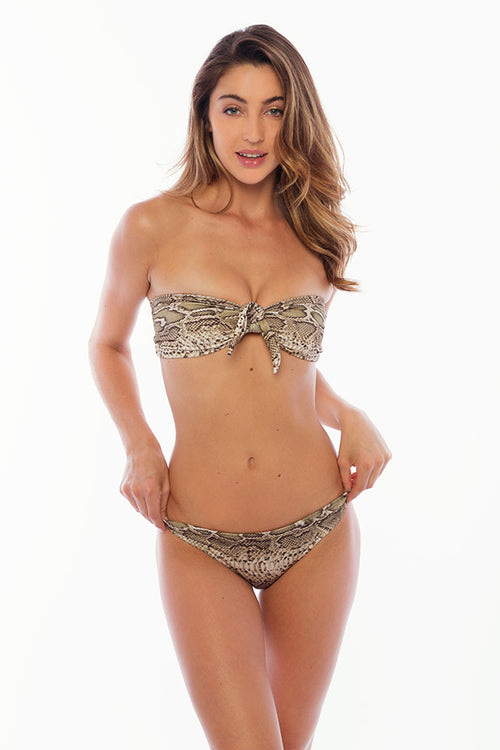 Pacifica Top Bandeau With Sleeves and Bow - Python Snake Print