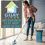 Guay Microfiber Flat Mop with Hands-Free Self-Squeeze Bucket - Guay
