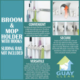 Guay Broom and Mop Holder Tool Storage Utility Rack Wall Mounted Utility Rack - Fixed - Guay