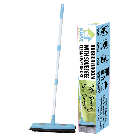 Guay Rubber broom with Squeegee and Grommet Hole for Pads and Towels - Guay
