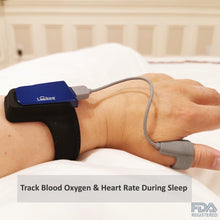 Load image into Gallery viewer, Lookee® Wrist Sleep Oxygen Monitor with Vibration Alarm for Sleep Apnea & Low O2 | Tracks Blood O2 Saturation Level, Heart Rate & CPAP Effectiveness - Lookee Tech