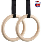 Wood Gym Rings with Adjustable Straps for Strength Training FREE Speed Rope & Grips