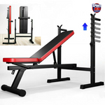 Fitness Bench, Adjustable Foldable Weight/Sit Up Incline/Decline Dip Bar Exercise Workout Bench for Home Gym Fitness