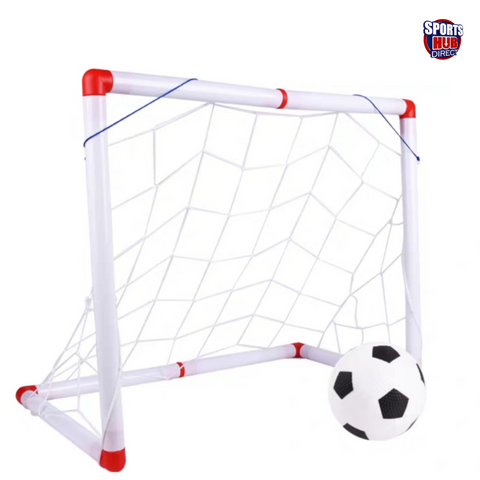 Kids Mini Football Goals - Posts & Nets Included Kids Practice Soccer Ball and Pump and Net
