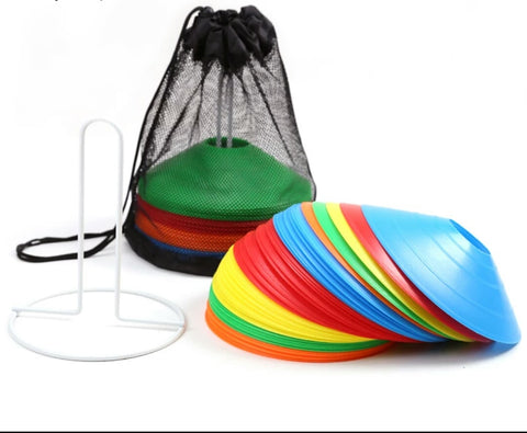 Sports Cones Set of  50 Pcs Space Markers Assorted Disc Cones 5 Different Colours