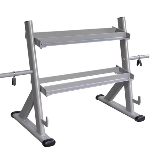 2-Tier Dumbbell Rack with Side Weight Plate Storage & Barbell Storage