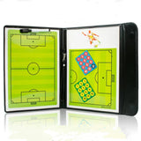 Football/Soccer Coach Board with Magnetic Pieces Leather Bound Tactics Board Foldable w Markers, Eraser, Referee Whistle
